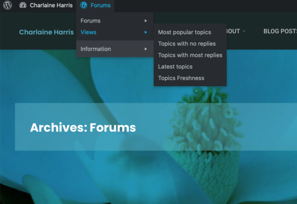Forum Menu Screen Shot