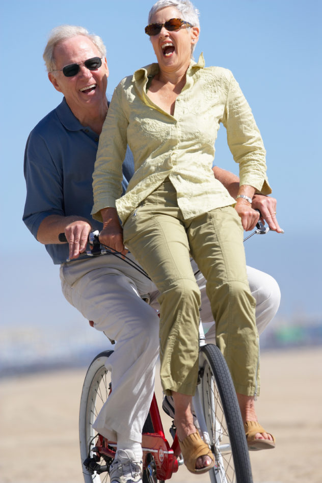Energetic and fun Tidbits readers riding cruiser bicycle.