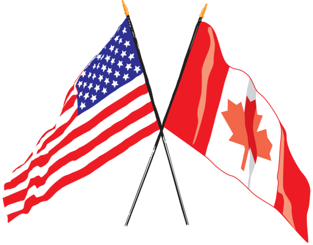 US Canadian Flag crossed