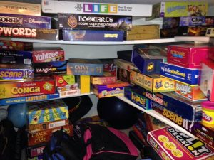 My games closet. Probably could use some organization.