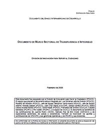 Documento de Marco Sectorial de Transparencia e Integridad