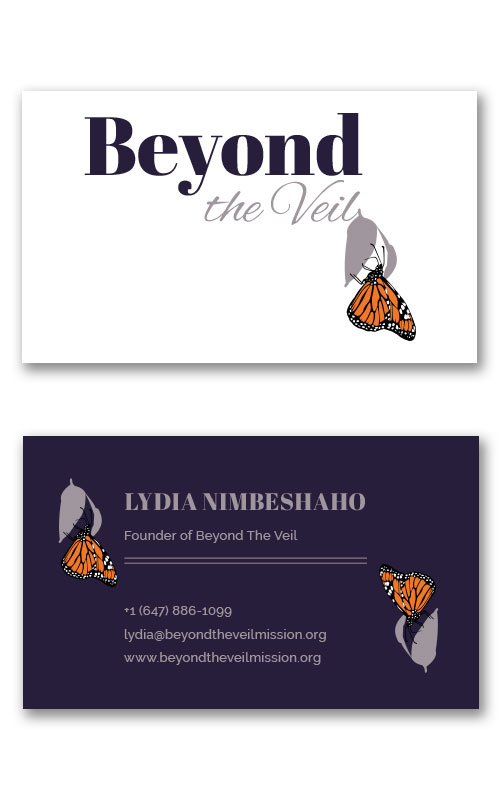 Gallery - Beyond the Veil Print Business Cards at Jessica Design Graphic and Web Design Services in Hamilton.