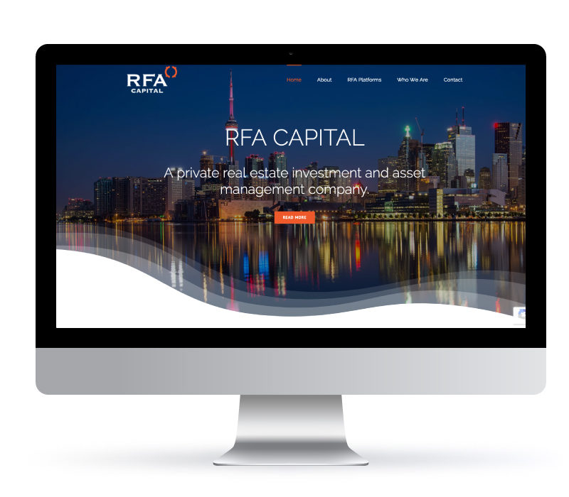 RFA Captial - Website created by Jessica Design. Graphic and Web services in Hamilton.
