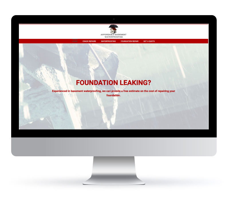 Affordable Basement Waterproofing - Website created by Jessica Design. Graphic and Web services in Hamilton.