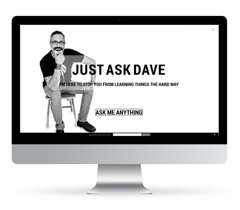 Just Ask Dave - Website Created by Jessica Design and Koru Creative Group.