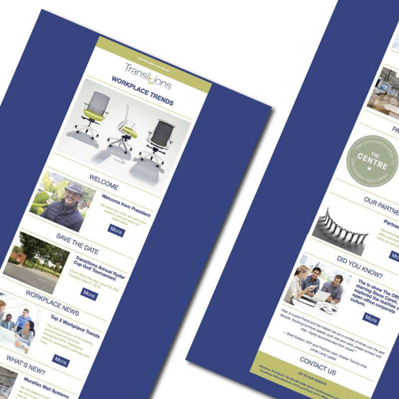 Email Programs - Transitions Email template designed by Jessica Design and Bare Bones Marketing.