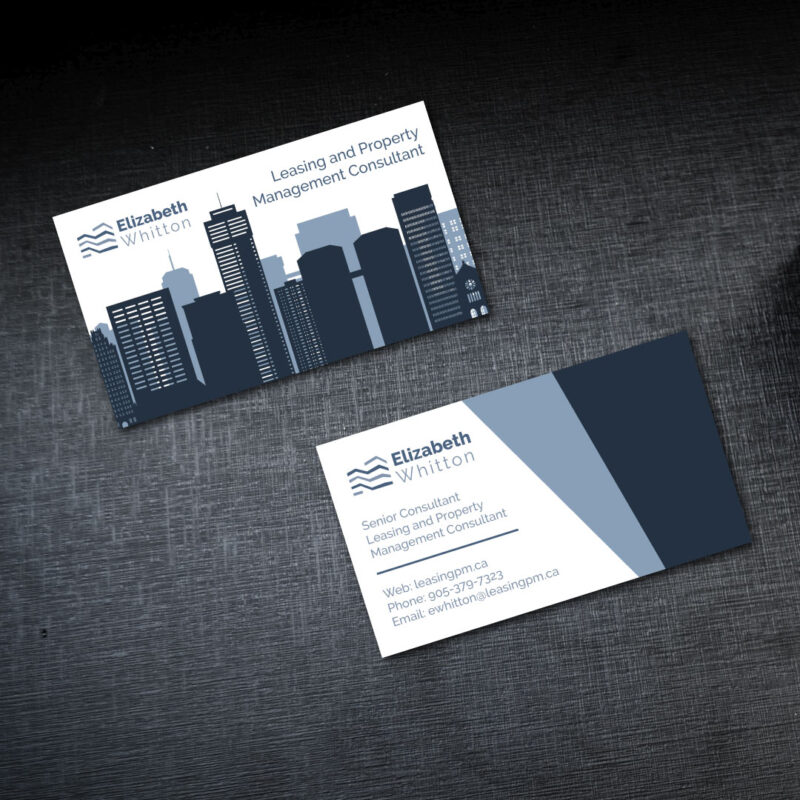 Business Cards - Print Design for Leasing PM, Elizabeth Whitton. Jessica Design, graphic and web services in Hamilton.
