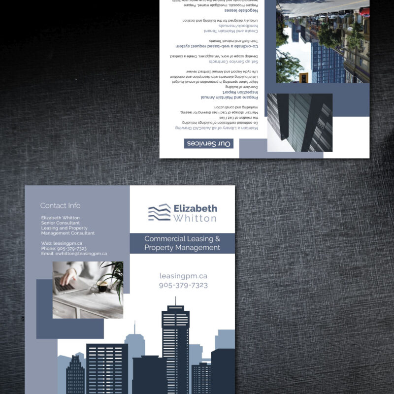 Flyer Design - Print Design for Leasing PM, Elizabeth Whitton. Jessica Design, graphic and web services in Hamilton.