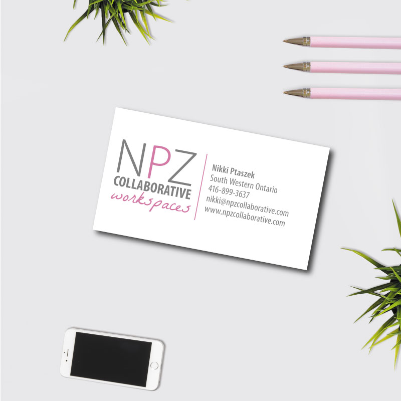 NPZ Collaborative Workspaces - Business card, stationery design made with Jessica Design in Hamilton.