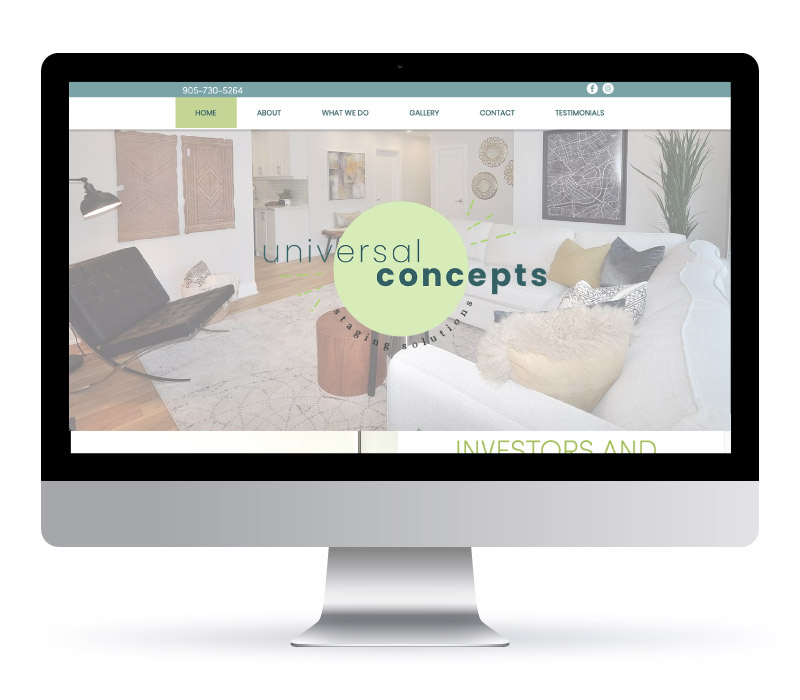 Universal Concepts - website design made with Marley Motivation and Jessica Design marketing agency in Hamilton, Ontario.