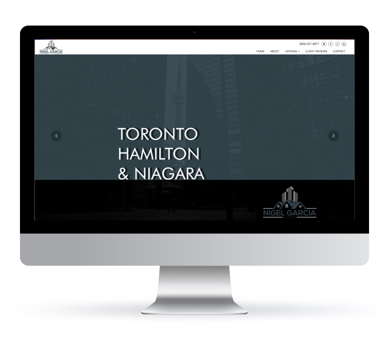 Web Design - Nigel Garcia Real Estate made with Coldwell Banker. Jessica Design marketing agency in Ontario.