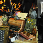 Rogue Winterfest 2016 Trees Steampunk Night Steamed Up Typewriter on Desk and Owl with Top Hat