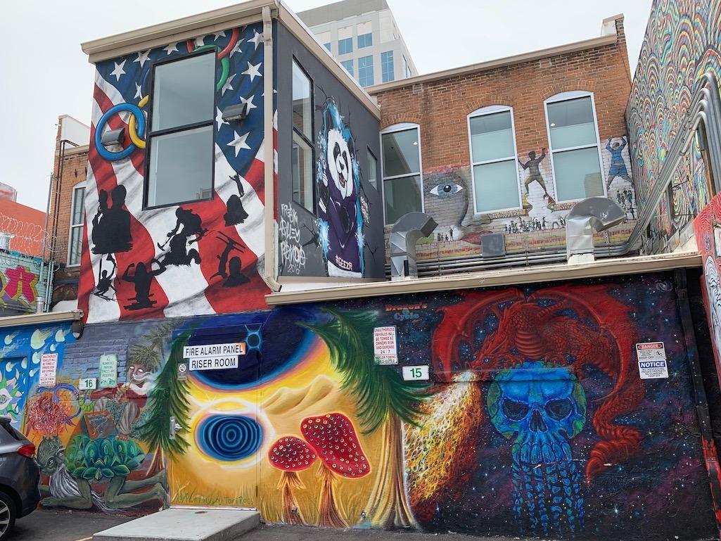 Freak Alley Street Art Multiple Buildings