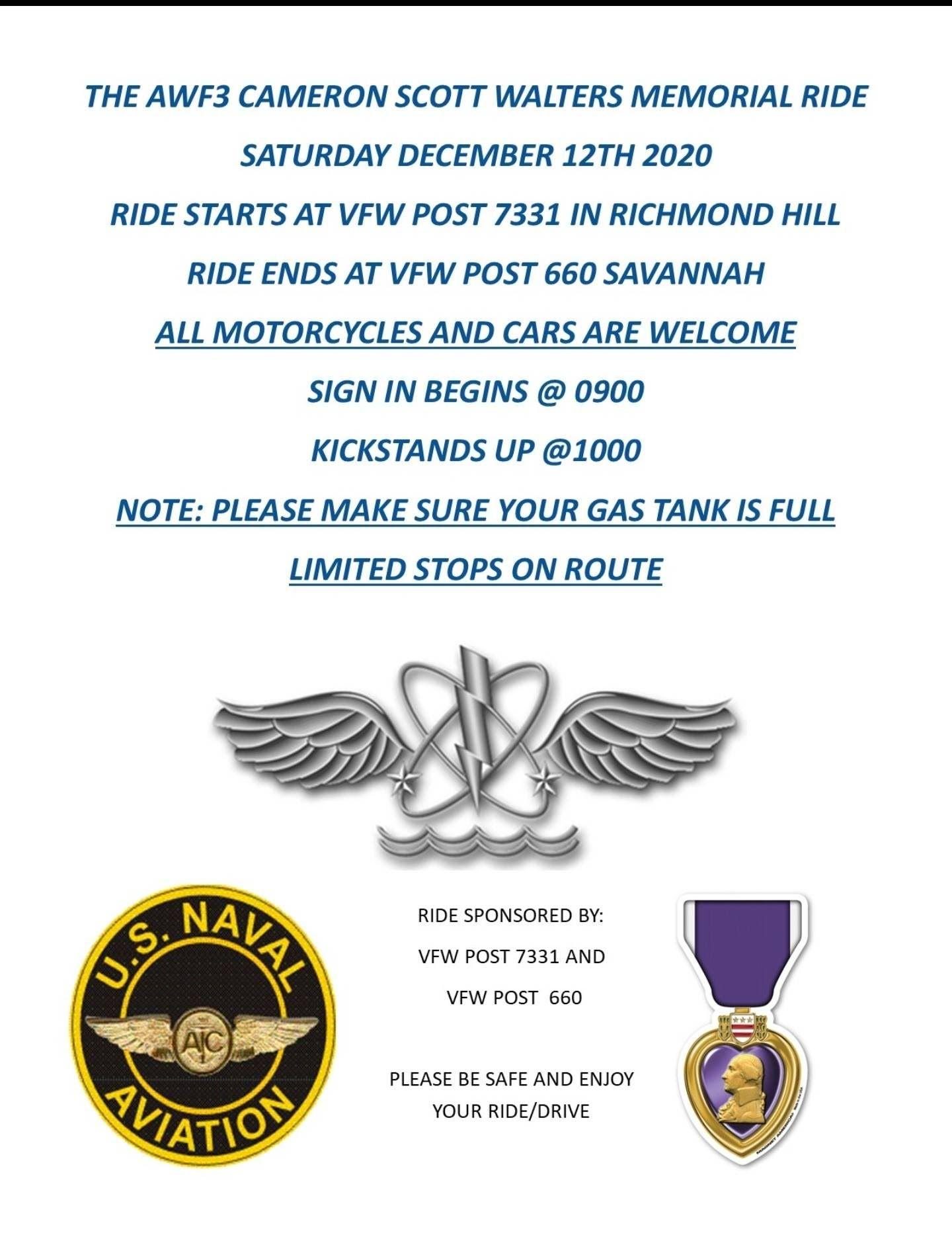 VFW - AWF3 Cameron Scott Walters Memorial Ride @ VFW Post 7331 | Richmond Hill | Georgia | United States