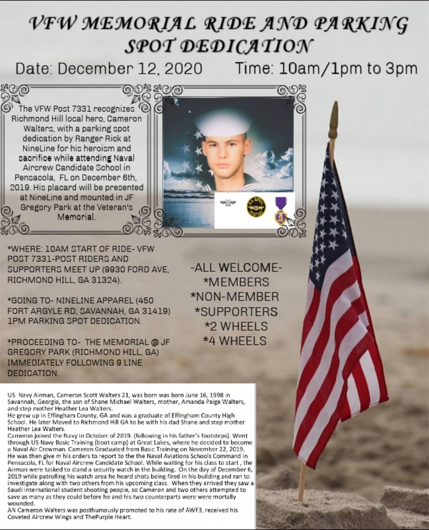 VFW Memorial Ride and Parking Spot Dedication @ VFW Post 7331 | Richmond Hill | Georgia | United States