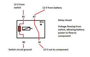 Closed Relay, Voltage flowing from switch.