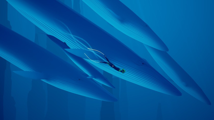 """Swim with the whales in """"Abzu."""" Don't worry, they don't bite. (Giant Squid / 505 Games )"""