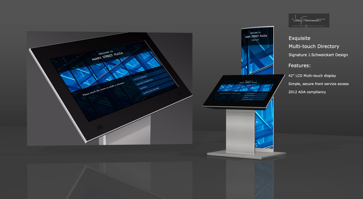 Exquisite Multi-Touch Directory with Back-lit signage tower Designed by Industrial Designer Jer Schweickart