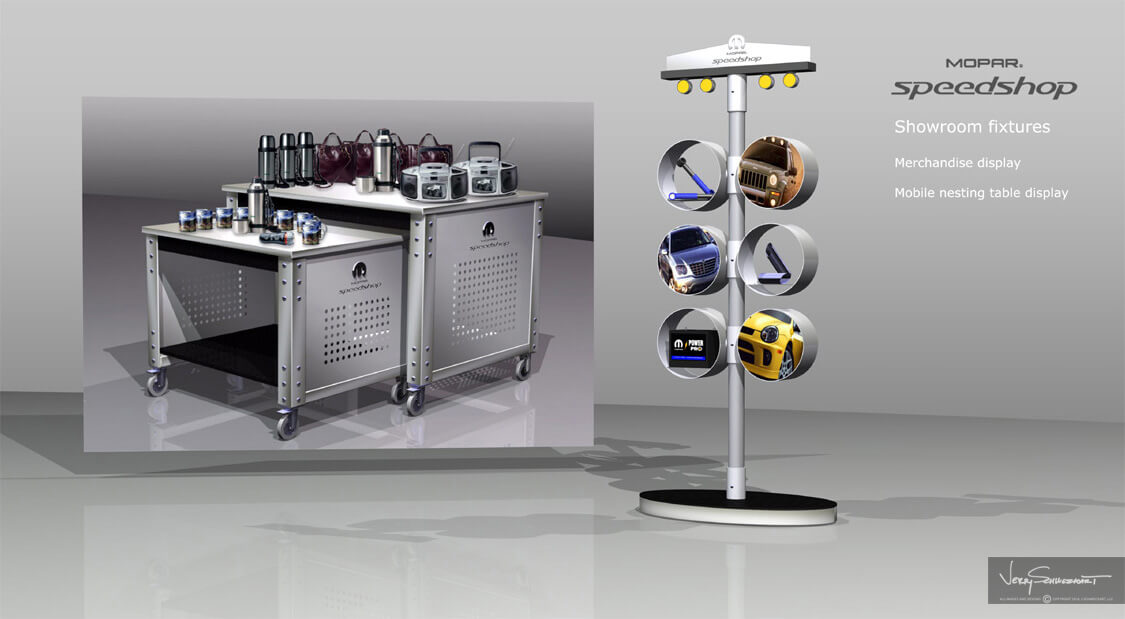 Mopar Showroom Fixtures Designed by Industrial Designer Jer Schweickart