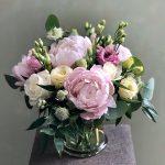 peonies, lisianthus, roses, astrantia, nigella