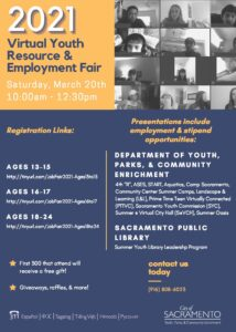 2021 Careers in Government Flyer for City of Sacramento Teen Event