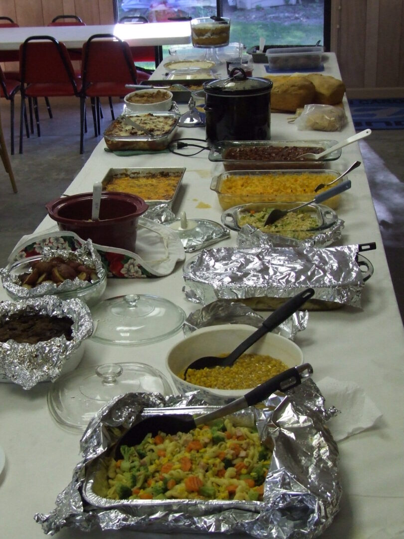 Potluck food on a table
