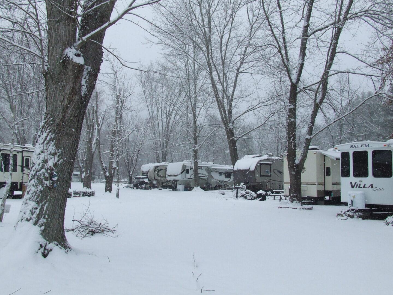 Cullasaja River RV Park in winter