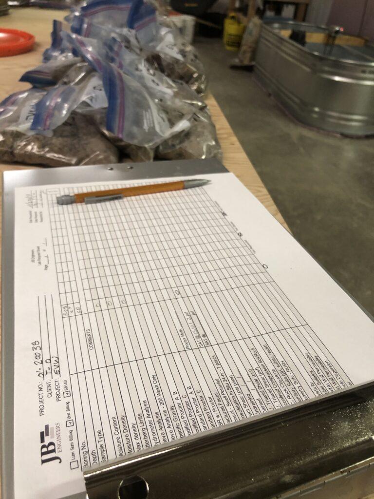 JB Engineers lab soil testing spreadsheet checklist