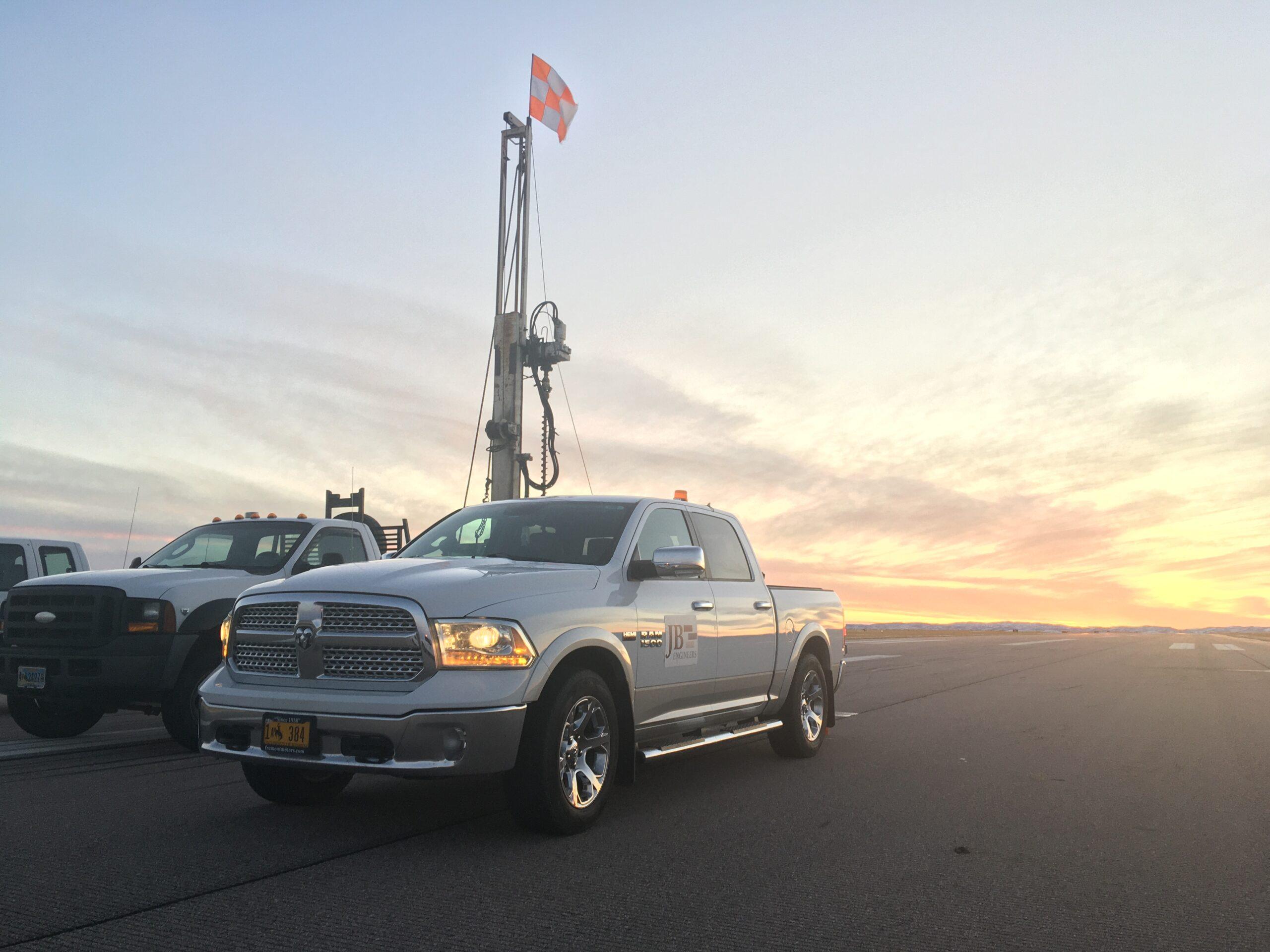 JB Engineers fleet of White Dodge Ram work trucks
