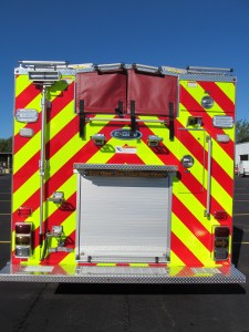 Bourne, MA Fire Department - Stainless Steel Side Mount Rescue Pumper - Rear view