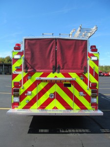 Foxborough, MA Fire Department - Stainless Steel Side Mount Pumper - Rear View
