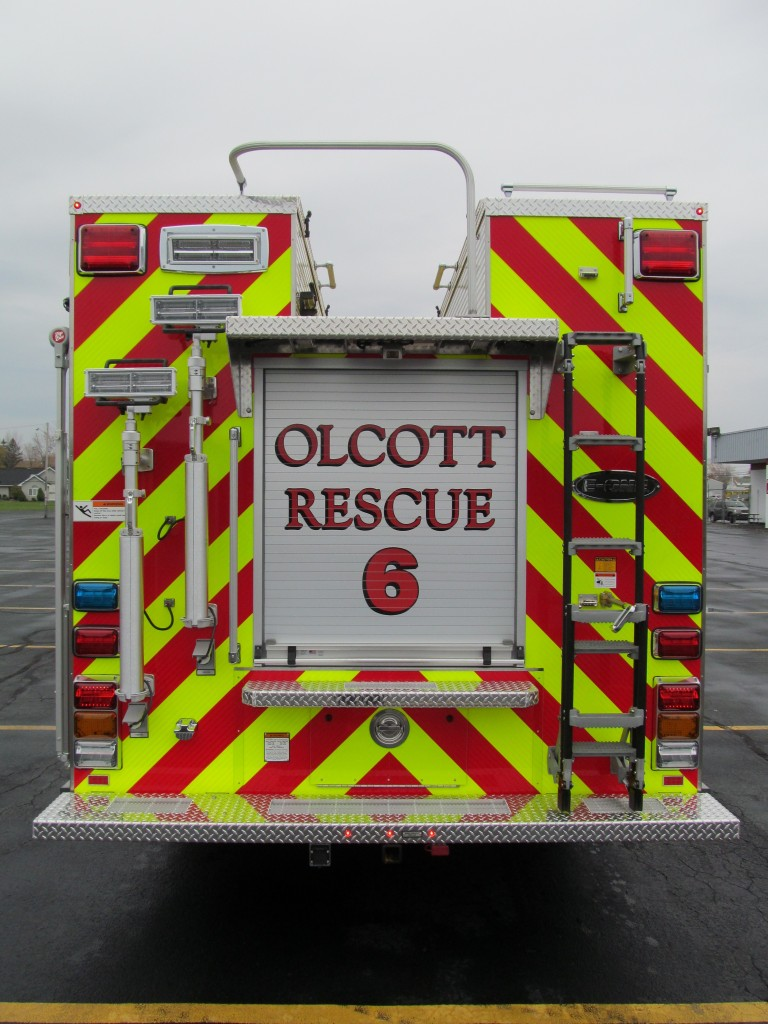 Olcott Fire Company New Stainless Steel Walk-Around Rescue - Rear view