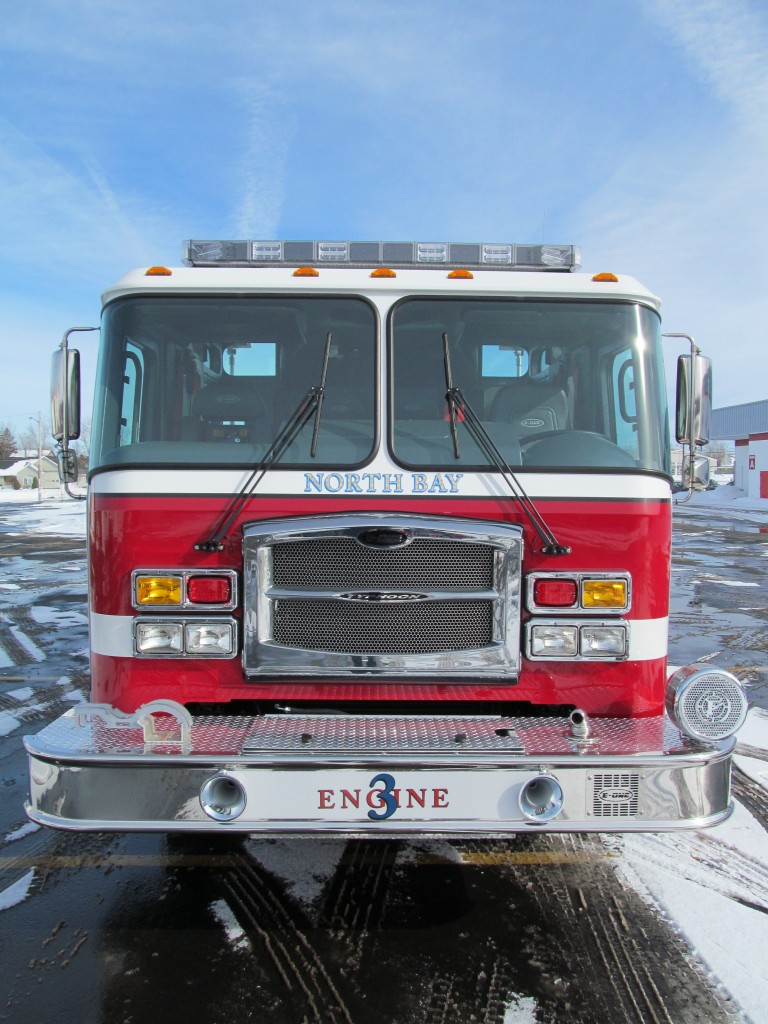 North Bay Volunteer Fire Department, NY E-ONE Stainless Top Mount Pumper - Front