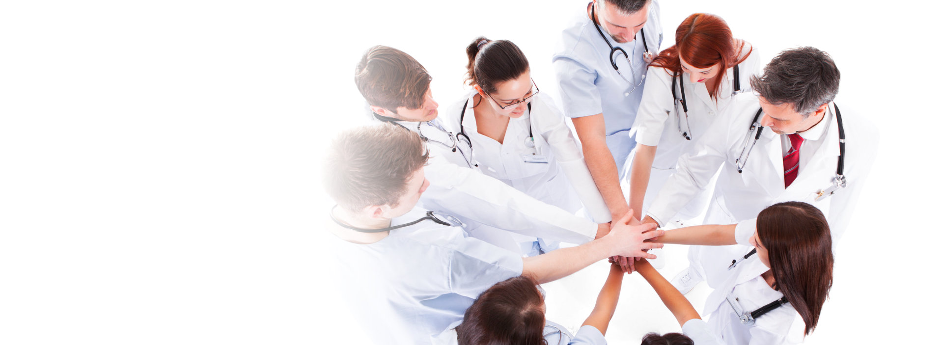 medical team piling hands