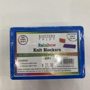 A box full of rainbow knit blockers