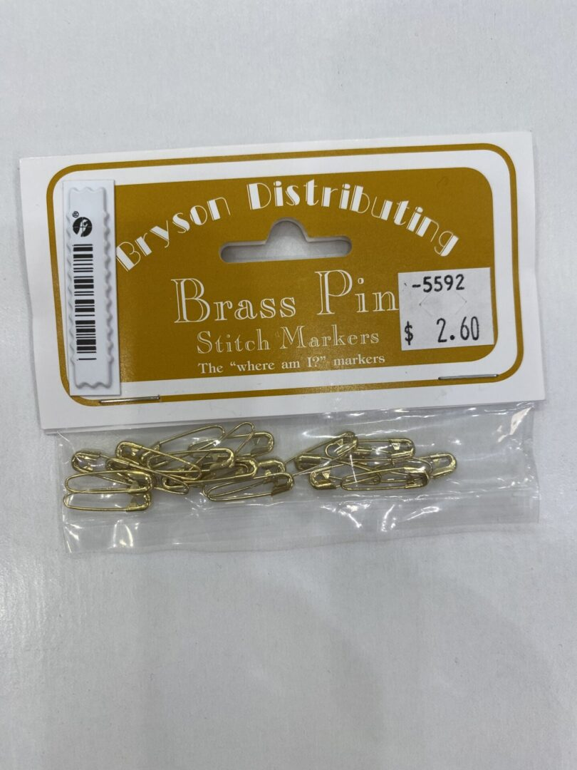 Brass pin stitch markers