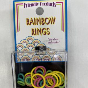 Rainbow colored stitch markers