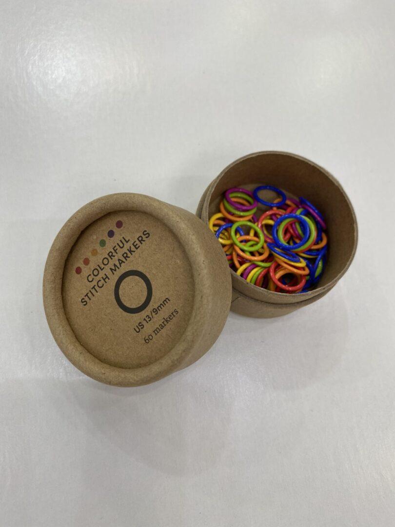 A box of stitch markers