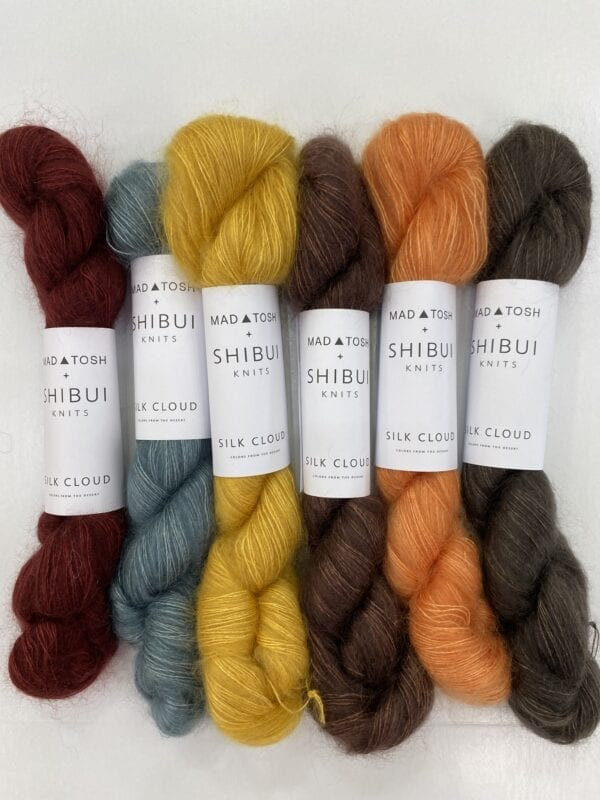 Yarn skeins in six different colors