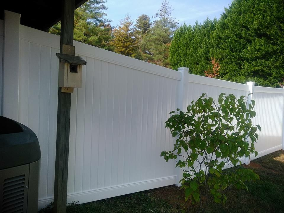 PVC and Vinyl fence in backyard, Fence Scapes, Asheville, NC