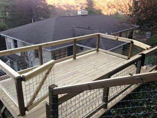 Wooden deck on hill, Fence Scapes, Asheville NC