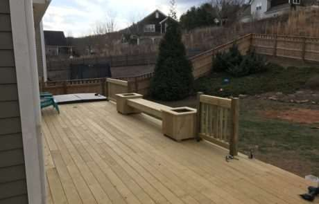 Deck with wooden planters