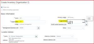 Create Inventory Organization- Tangenz Corporation