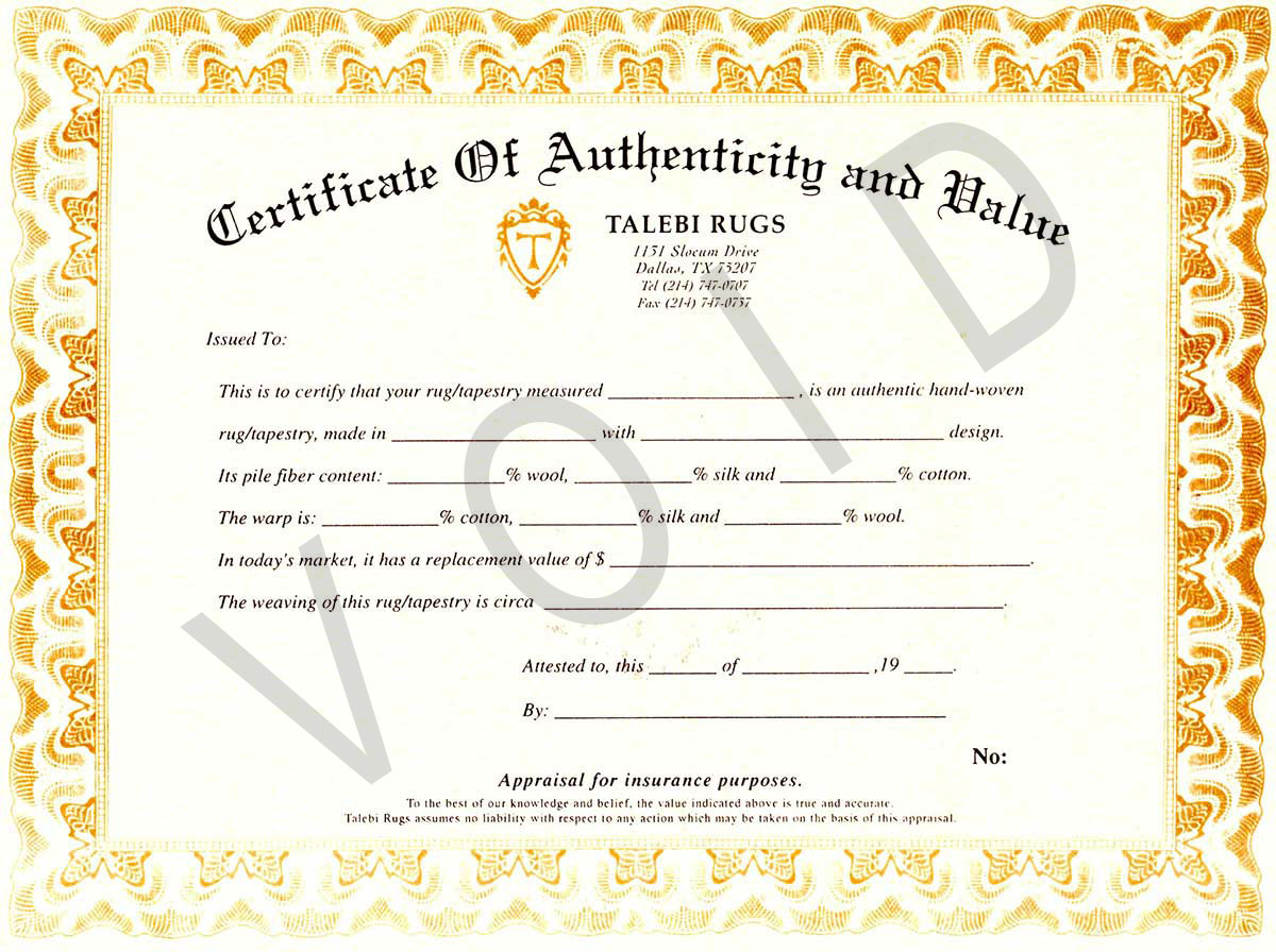 talebi-rugs-certificate-of-authenticity-and-value-dallas