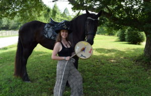 Cathy Woods with Horse and Drum