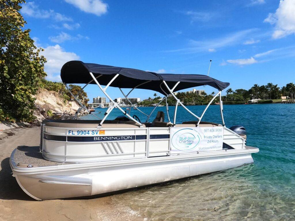 Pontoon boat with double bimini top