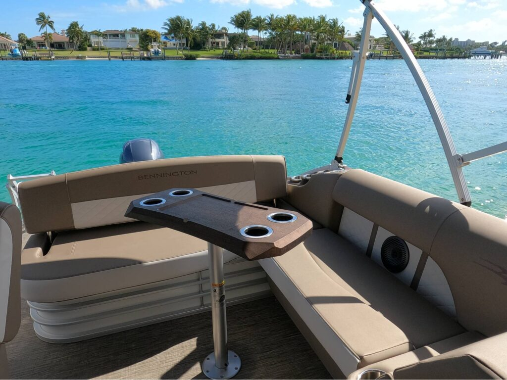 bench seats and table on pontoon