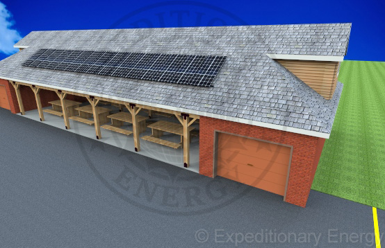 Outdoor Ministry Center with solar panel roof