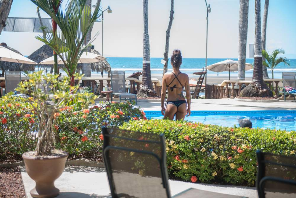 Woman at pool in jaco