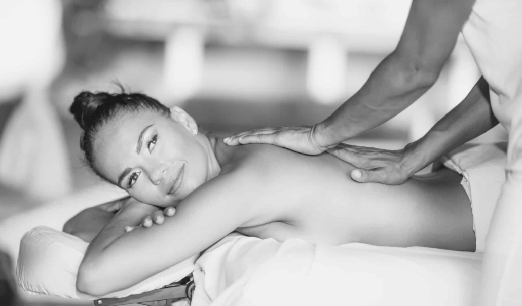massaging woman